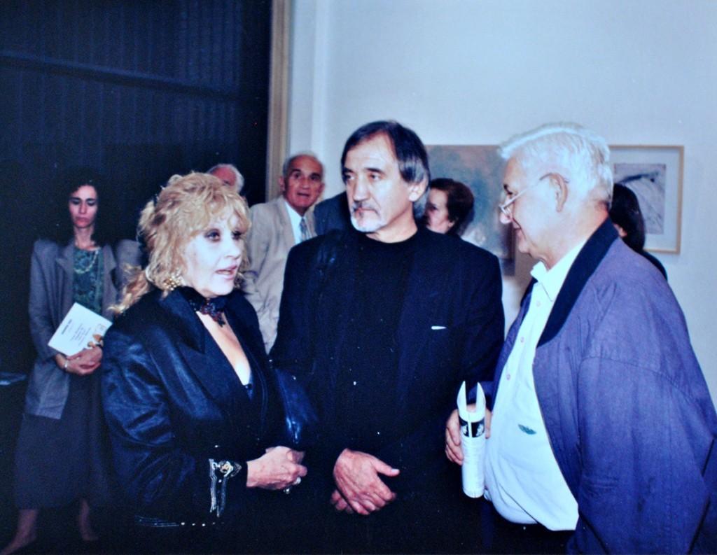 Olja Ivanjicki i Nikola Kusovac na mojoj autorskoj izložbi u Dannia Artu, septembar 1993.