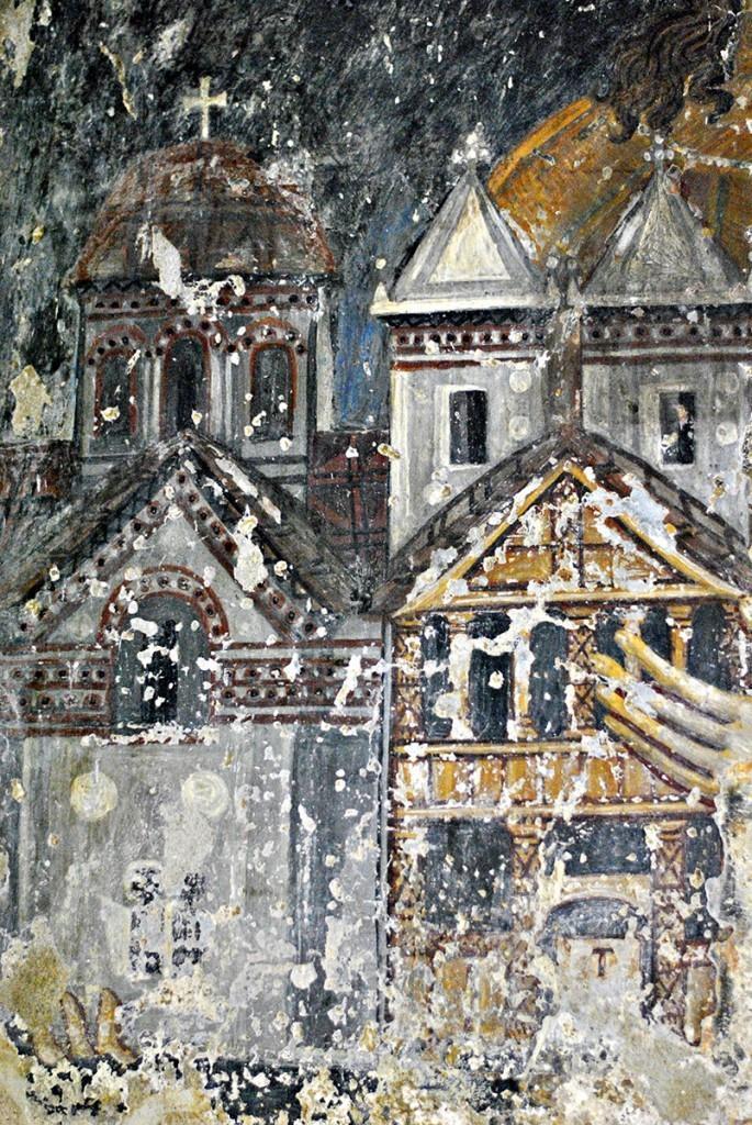 Model crkve koji ktitor drži u rukama. Crkva sa drvenim tremom na prednjoj strani (koji je izgoreo svojevremeno) i izgled crkve gledano do istočne/oltarske strane