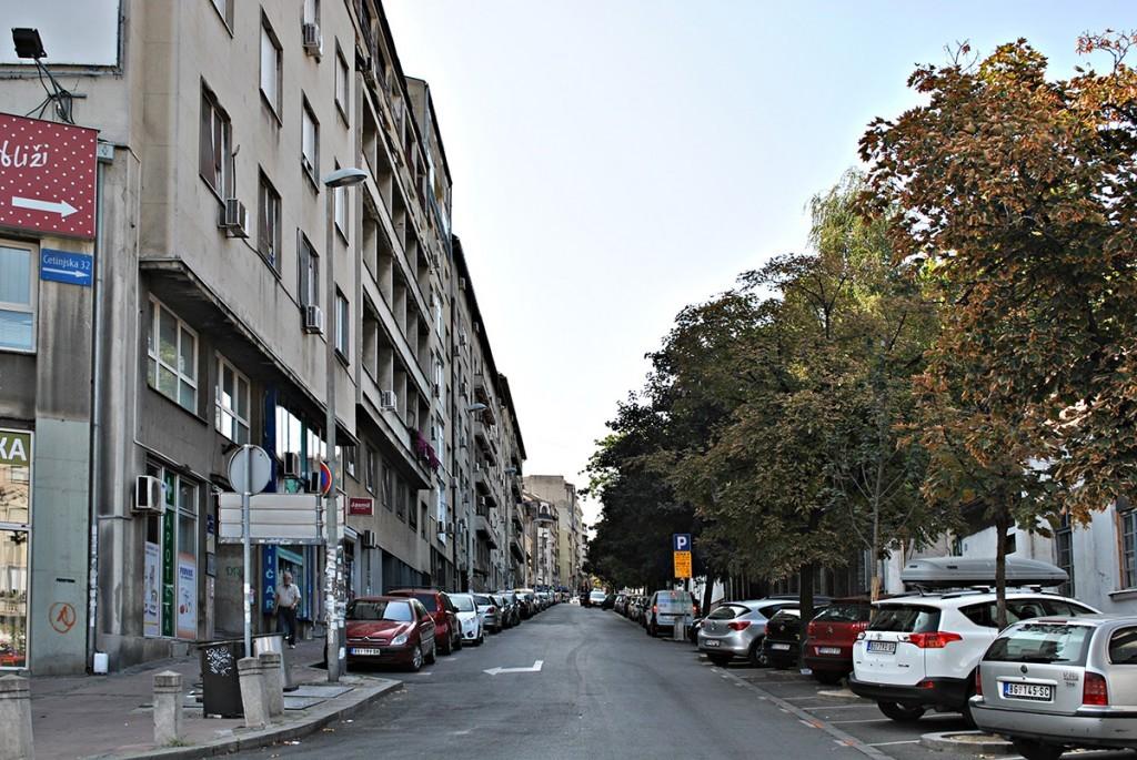 Cetinjska ulica danas, pogled od Džordža Vašingtona, nekadašnje Vidske