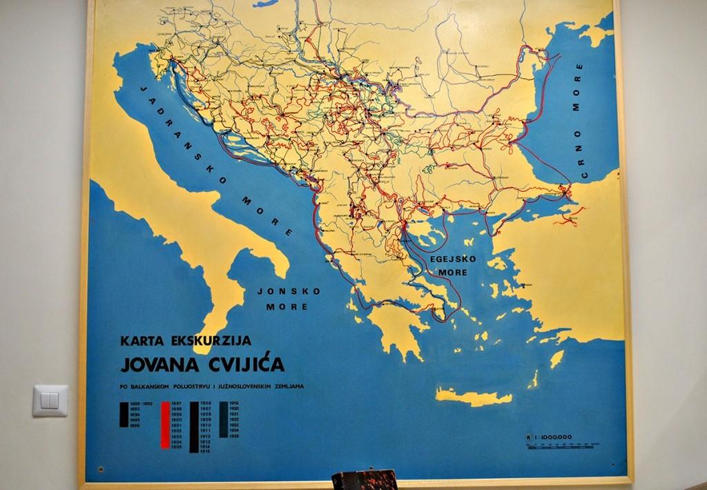 Karta Cvijićevih ekskurzija