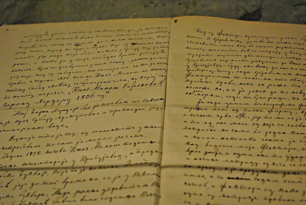 Stranice Anastasovog dnevnika (sutobiografije), u tekstu se vidi kako je od knjaza Miloša dobio naredbu da na sablji izreže 'Knjaz Miloš Obrenović baronu Herderu, 1836.'