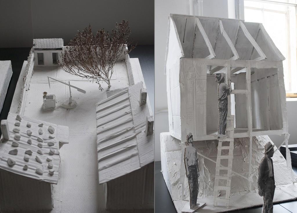 Levo: maketa partaje u Ulcinjskoj ulici, izgled 1921. Desno: kuća od čatme u Pištolj-mali Makete izradio Vladimir Macura 2015. godine.
