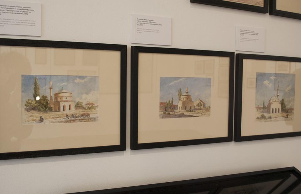 S leva na desno: Reis-efendijina džamija; Sindžirili/Imaret džamija; Bajram-begova džamija. Akvareli Konstantina Jovanovića iz 1870.