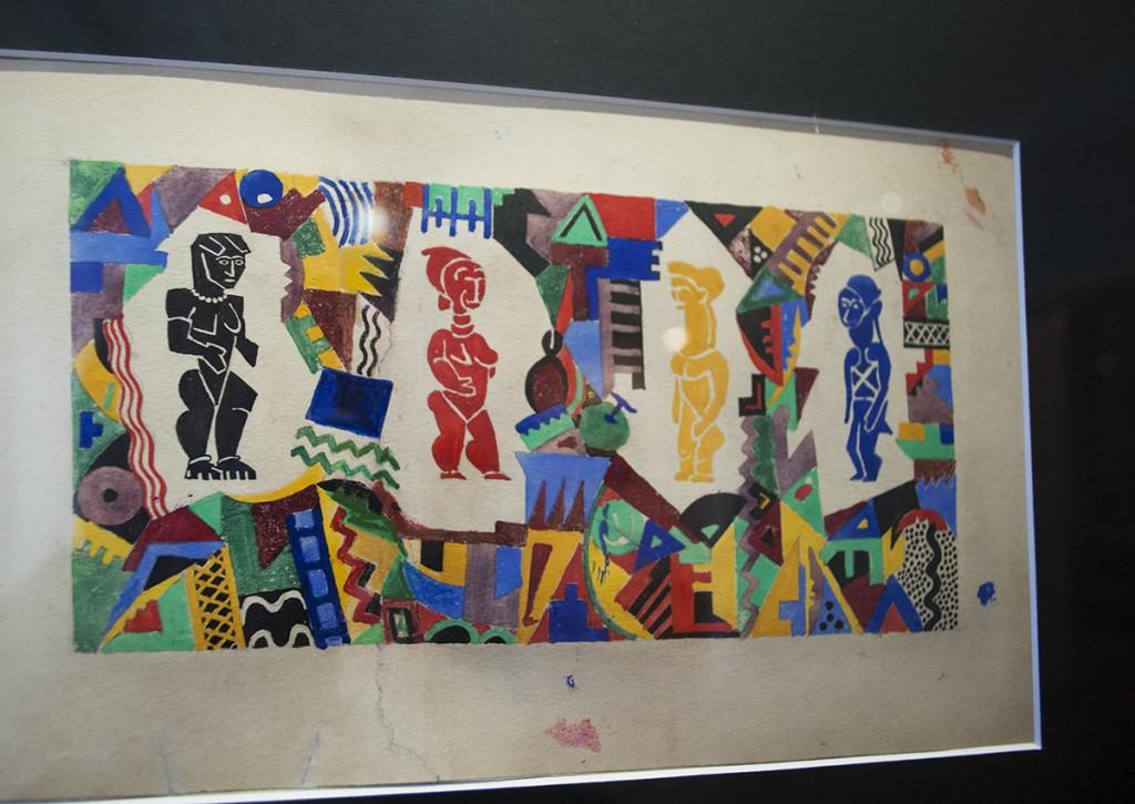 Crtež figura koje je Dušan Janković oslikao na papirnim oblogama  na bočnim zidovima bifea hotela Kasina