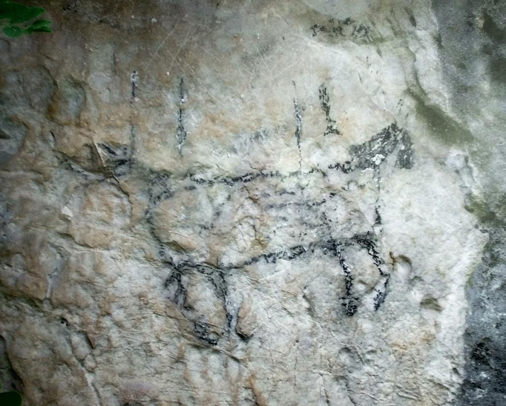 Pećinski crtež iz Grabovice (crtež su nepoznati nasilnici svojevremeno delimično oštetili, pokušali su da ga odvale!)