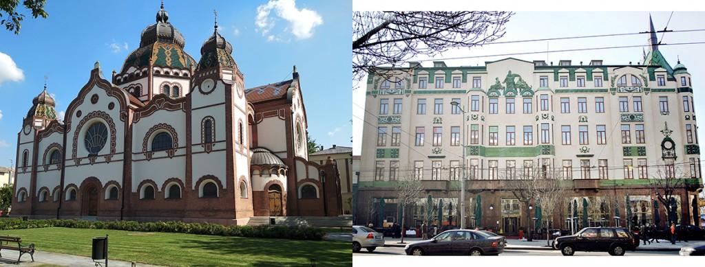 Levo Sinagoga u Subotici, desno hotel Moskva u Beogradu. Fotografije M. Sikošek