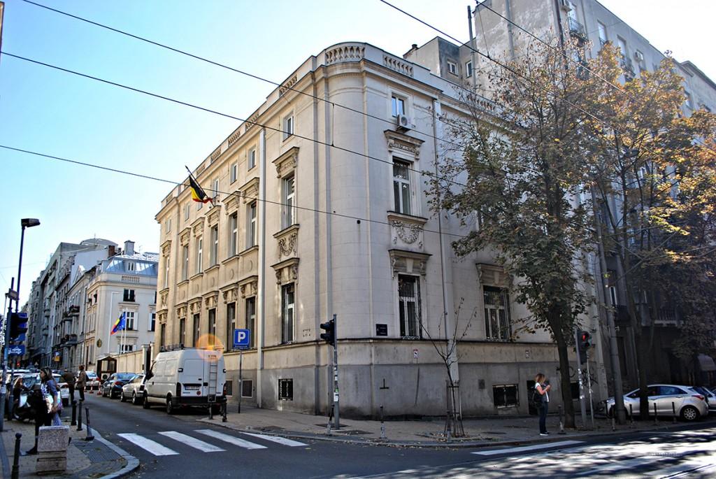 Zgrada belgijske ambasade na uglu Krunske i Resavske, mesto na kojem se nalazila kuća Drage Mašin